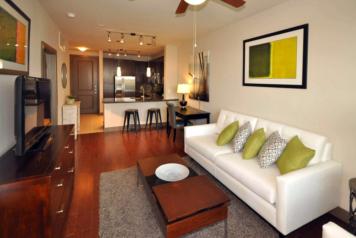 Living Room Setup With Al Furniture From Brook At 577 Hermann Park Apartments
