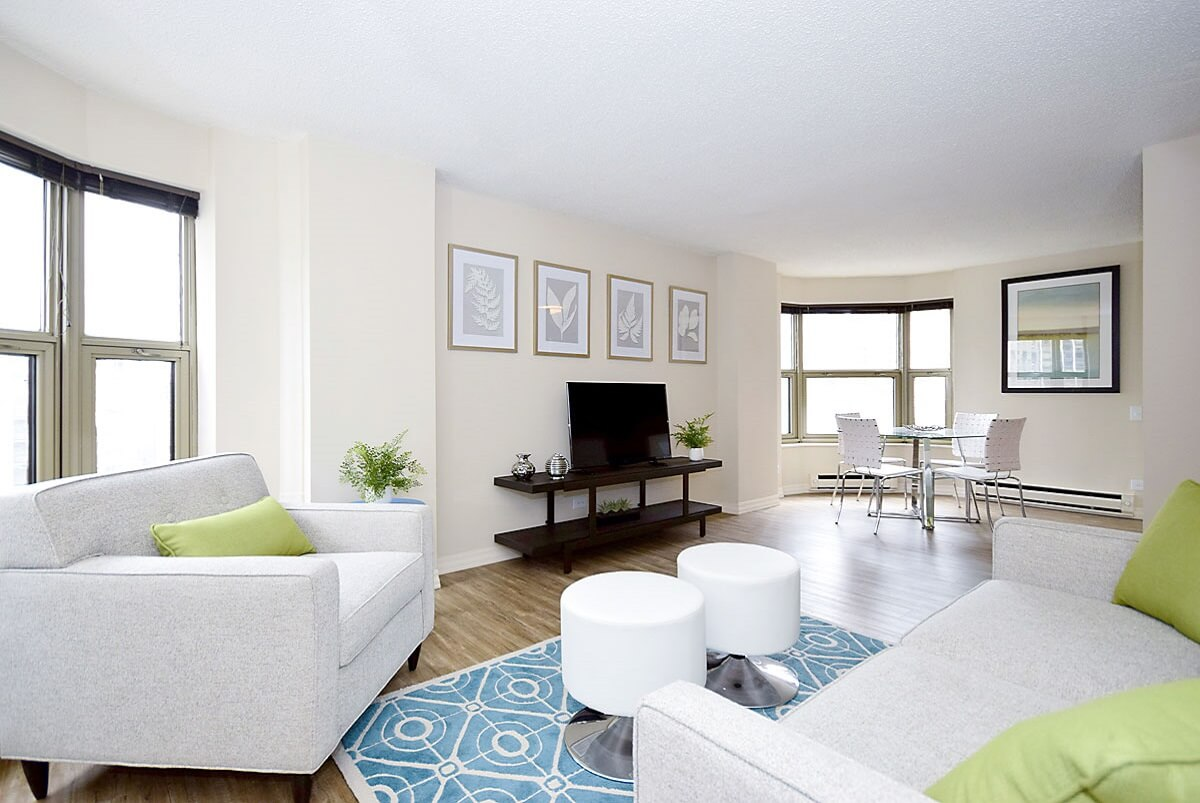 Living room setup with rental furniture from Brook Furniture Rental at Chestnut Place